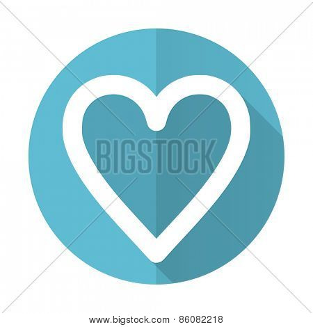heart blue flat icon love sign