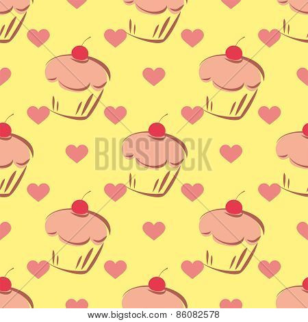 Tile vector pattern with cupcake and hearts on yellow background
