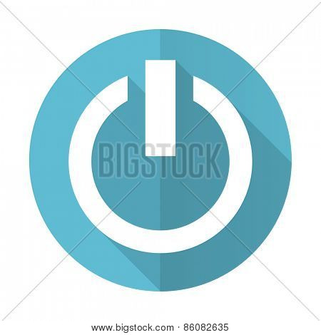 power blue flat icon on off sign
