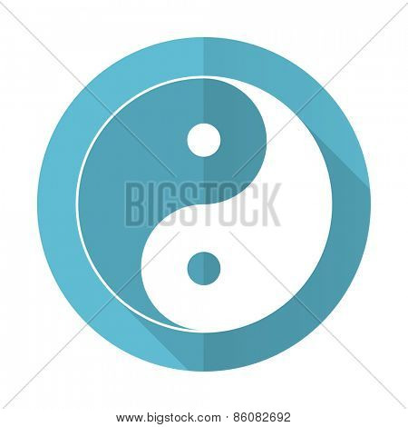 ying yang blue flat icon