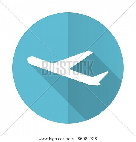 departures blue flat icon plane sign
