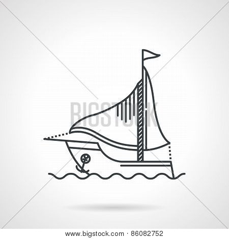 Black line vector icon for sailing yacht