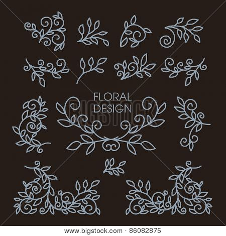 Luxury vintage vector set of floral line design elements for logos, frames and borders in modern style