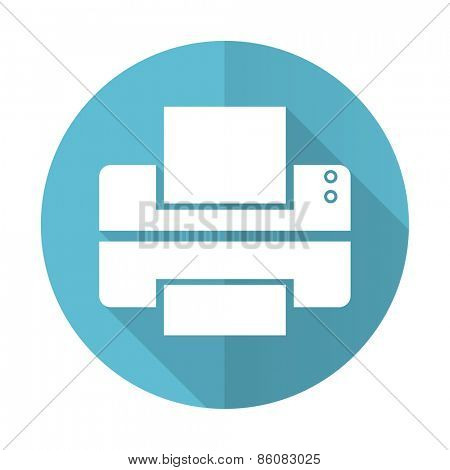 printer blue flat icon print sign