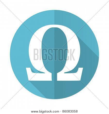 omega blue flat icon