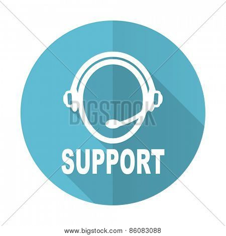 support blue flat icon