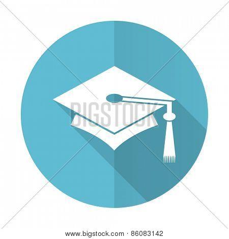 education blue flat icon graduation sign