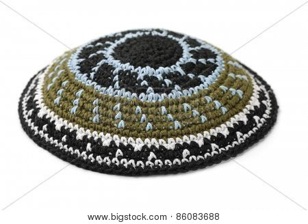 Kippah - traditional jewish headwear isolated on white
