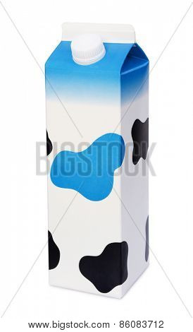 Spotted dairy box isolated on white