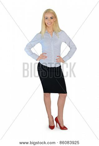 Isolated business woman looking camera