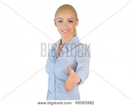 Isolated business woman shake hand