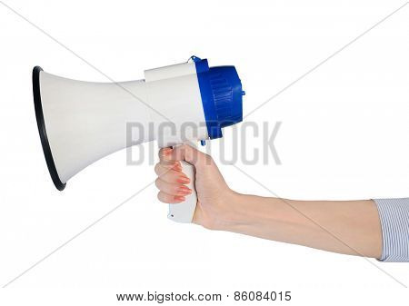 Business woman hand hold loudspeaker