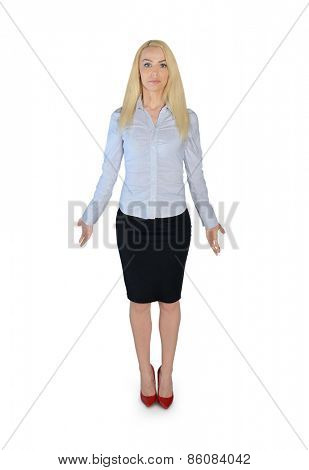 Isolated business woman confused gesture