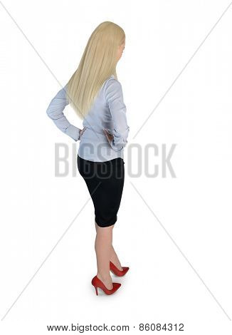 Isolated business woman looking down