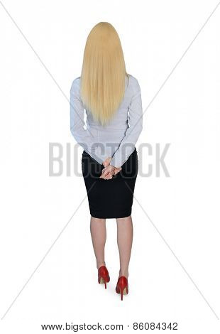 Isolated business woman looking back