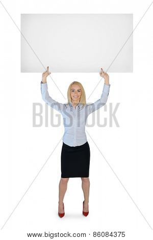 Isolated business woman presenting empty banner