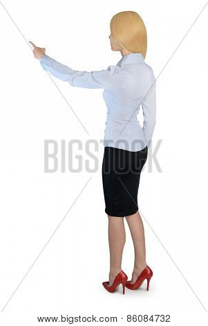 Isolated business woman pointing back