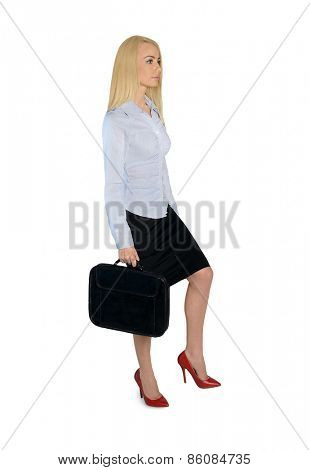 Isolated business woman step up