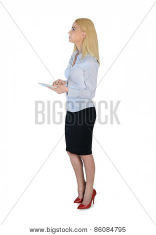 Isolated business woman with hand calculator