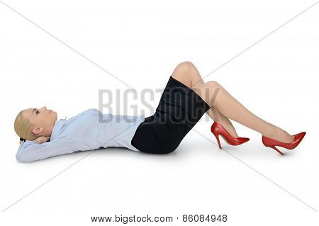 Isolated business woman laying down