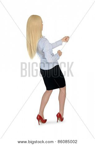 Isolated business woman pull something