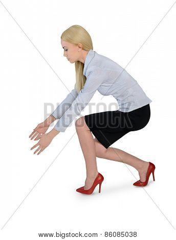 Isolated business woman grab something