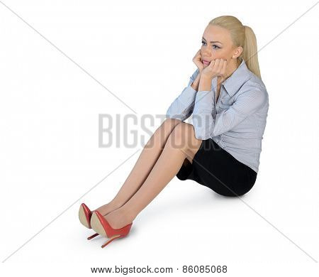 Isolated business woman sad looking