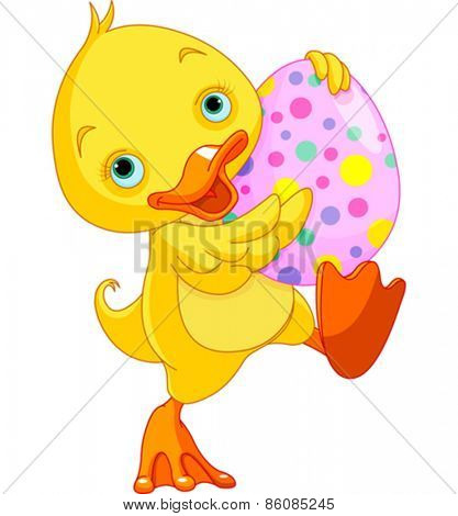 Illustration of Easter duckling carry Egg