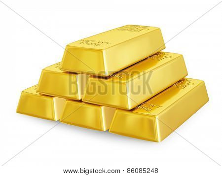 Gold bars bullions pyramid isolated