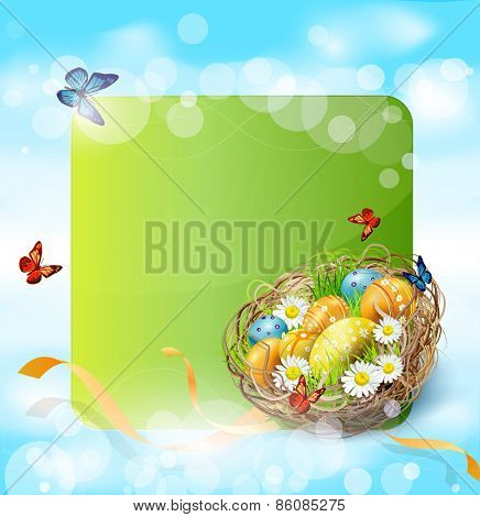vector background with Easter nest and eggs