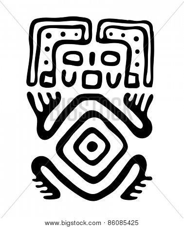 black alien in native style, vector illustration
