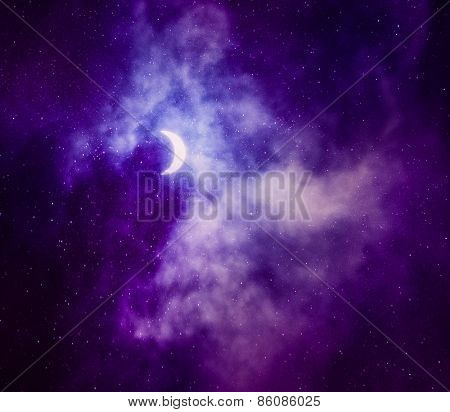 Beautiful sky with stars and crescent