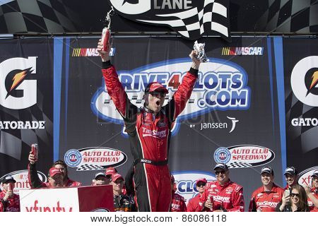Fontana, CA - Mar 21, 2015:  Kevin Harvick wins the Drive4Clots.com 300 at Auto Club Speedway in Fontana, CA.