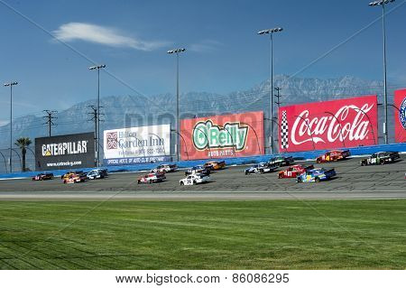 Fontana, CA - Mar 21, 2015:  The NASCAR Xfinity Series teams take to the track for the Drive4Clots.com 300 at Auto Club Speedway in Fontana, CA.