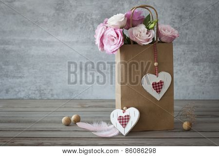 Rises, Hearts and two Feathers - Vintage Romantic still life horizontal background
