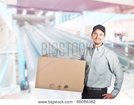 portrait of caucasian delivery man