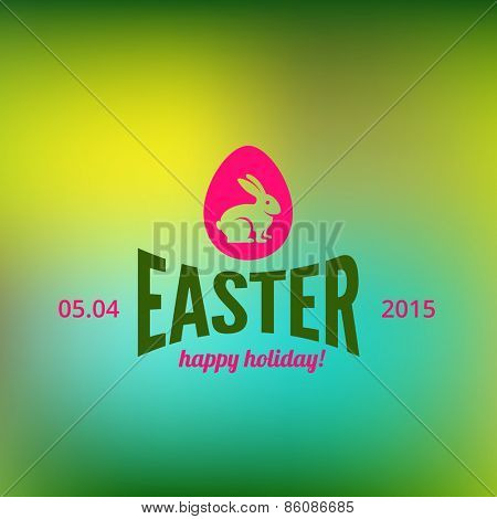 Logo Rabbit Easter Retro Vintage Label design vector template. Colorful Egg Hipster Logotype for Holiday.