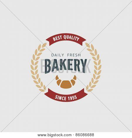 Logo Bakery Retro Vintage Label design vector template. Hipster Logotype for restaurant bar menu.