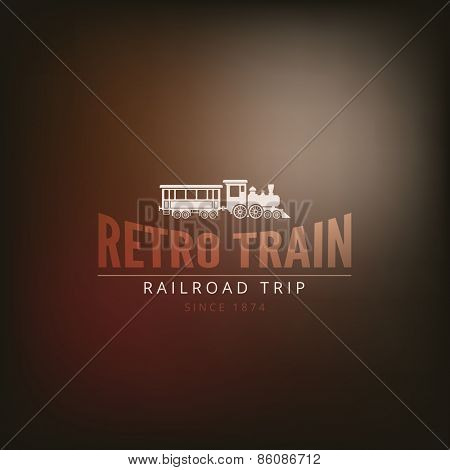 Logo Train Retro Vintage Label design vector template. Adventure travel Hipster Logotype.