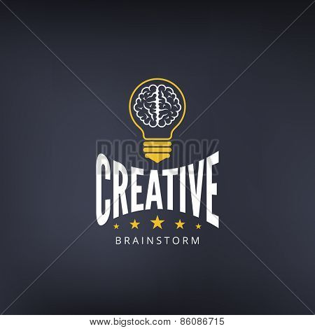Logo Brain Lamp Bulb Retro Vintage Label design vector template. Lightbulb Hipster Logotype.