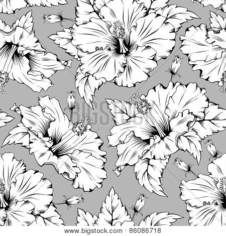Seamless pattern with exotic tropical flower - hibiscus.