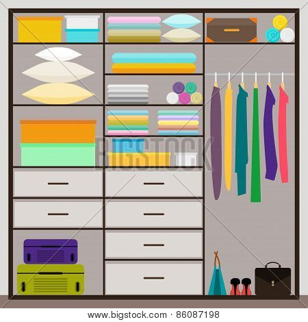 Simple Graphic Illustration In Trrendy Flat Style With Sliding-door Wardrobe