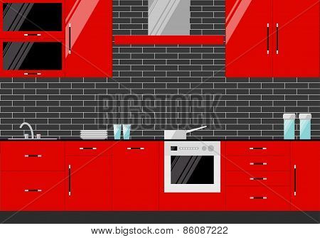 Bright Illustration In Trendy Flat Style With Red Kitchen Interior