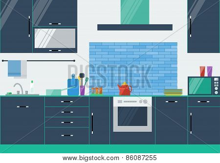 Illustration In Trendy Flat Style Colors With Kitchen Interior