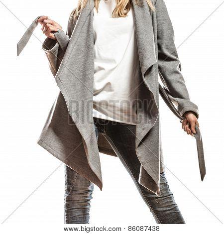 Elegant Woman In Gray Coat.