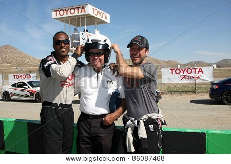 LOS ANGELES - FEB 21:  Willie Gault, Danny McKeever, Raul Mendez at the TGPLB Pro/Celebrity Race Training at the Willow Springs Raceway on March 21, 2015 in Rosamond, CA
