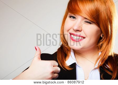 Business Woman Giving Thumb Up Sign