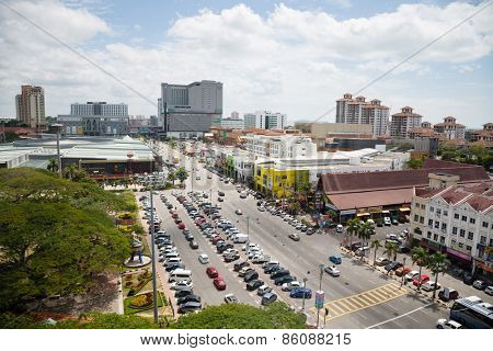 MALACCA, MALAYSIA - CIRCA JANUARY, 2015: View of the Malacca bird's-eye view. Malacca was included in the list of UNESCO World Heritage Sites in 2008.