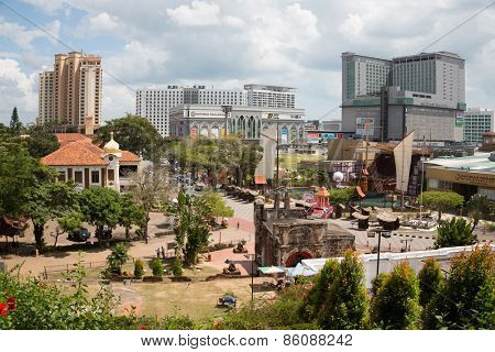 MALACCA, MALAYSIA - CIRCA JANUARY, 2015: View from the hill of St. Paul at Malacca. Malacca was included in the list of UNESCO World Heritage Sites in 2008.