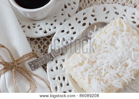 Weet Couscous (tapioca) Pudding (cuscuz Doce) With Coconut And Coffee On Crochet Doily